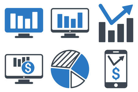 tv panel: Chart Monitoring vector icons. Icon style is bicolor smooth blue flat symbols with rounded angles on a white background.