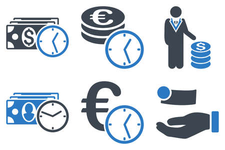 timed: Credit vector icons. Icon style is bicolor smooth blue flat symbols with rounded angles on a white background.