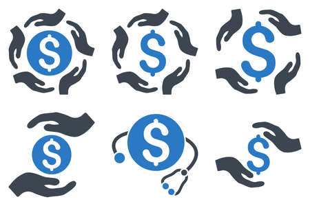 Dollar Care Hands vector icons. Icon style is bicolor smooth blue flat symbols with rounded angles on a white background.