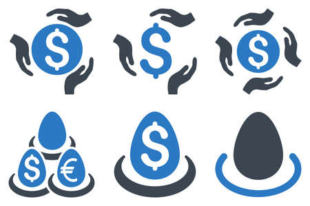 regard: Dollar Deposit Care vector icons. Icon style is bicolor smooth blue flat symbols with rounded angles on a white background. Illustration