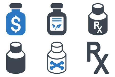 Frasco drogas iconos vectoriales. Icono de estilo es bicolor símbolos azules planas lisas con ángulos redondeados en un fondo blanco.