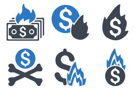 financial emergency: Fire Disaster vector icons. Icon style is bicolor smooth blue flat symbols with rounded angles on a white background.