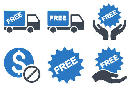 disallowed: Free of Charge vector icons. Icon style is bicolor smooth blue flat symbols with rounded angles on a white background.
