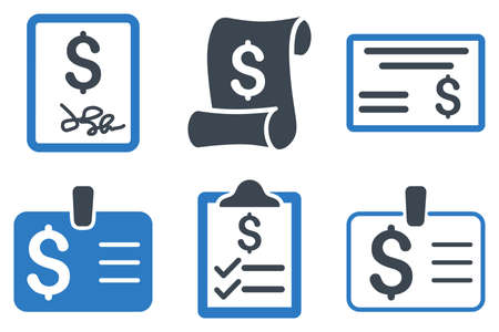 cheque: Payment Cheque vector icons. Icon style is bicolor smooth blue flat symbols with rounded angles on a white background.