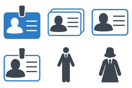 admittance: Person Account Card vector icons. Icon style is bicolor smooth blue flat symbols with rounded angles on a white background.