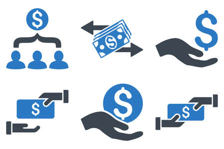 creditcard: Payment vector icons. Icon style is bicolor smooth blue flat symbols with rounded angles on a white background.