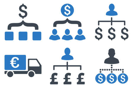 Payment Collector vector icons. Icon style is bicolor smooth blue flat symbols with rounded angles on a white background.