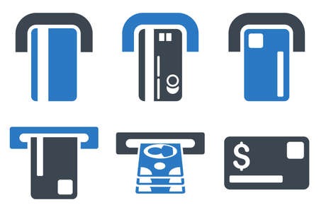 automatic transaction machine: Payment Terminal vector icons. Icon style is bicolor smooth blue flat symbols with rounded angles on a white background. Vectores