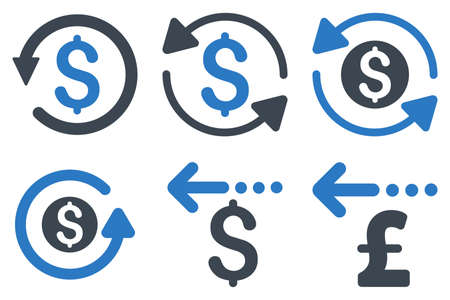 refund: Refund vector icons. Icon style is bicolor smooth blue flat symbols with rounded angles on a white background.