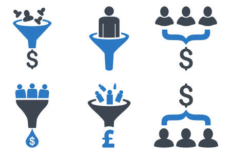 Sales Funnel vector icons. Icon style is bicolor smooth blue flat symbols with rounded angles on a white background.