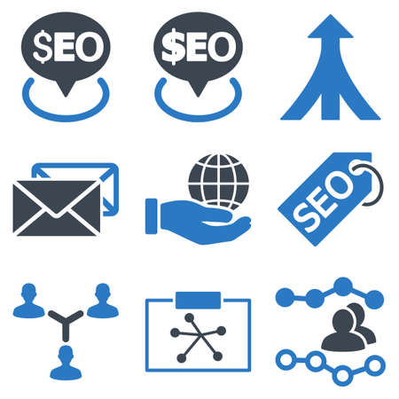 linker: Seo vector icons. Icon style is bicolor smooth blue flat symbols with rounded angles on a white background.
