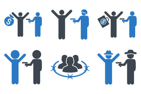 Thief Arrest vector icons. Icon style is bicolor smooth blue flat symbols with rounded angles on a white background.