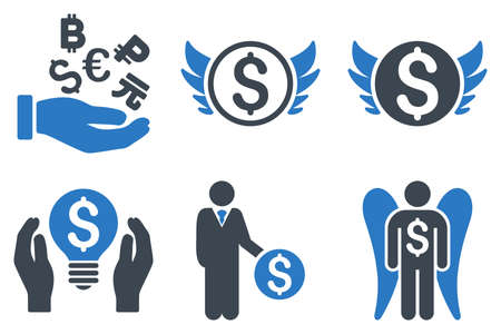 investor: Angel Investor vector icons. Icon style is bicolor smooth blue flat symbols with rounded angles on a white background.