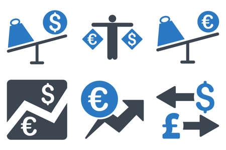 bank activities: Currency Trading vector icons. Icon style is bicolor smooth blue flat symbols with rounded angles on a white background.