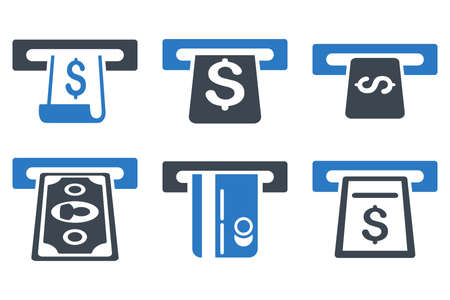 withdraw: ATM Withdraw glyph icons. Icon style is bicolor smooth blue flat symbols with rounded angles on a white background.
