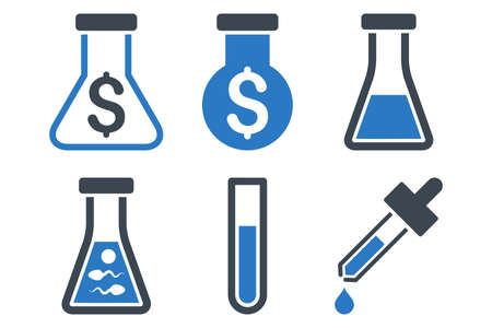 retort: Alchemy glyph icons. Icon style is bicolor smooth blue flat symbols with rounded angles on a white background. Stock Photo