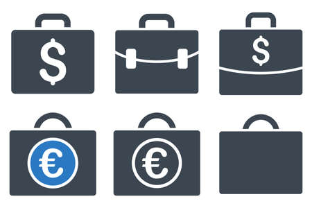 business case: Business Case glyph icons. Icon style is bicolor smooth blue flat symbols with rounded angles on a white background.