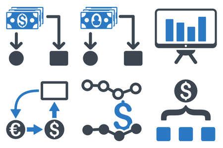 cashflow: Cashflow Charts glyph icons. Icon style is bicolor smooth blue flat symbols with rounded angles on a white background.
