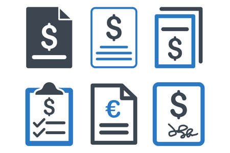 indenture: Invoice glyph icons. Icon style is bicolor smooth blue flat symbols with rounded angles on a white background.