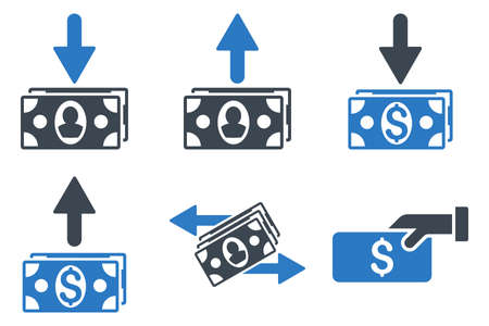 banknotes: Pay Banknotes glyph icons. Icon style is bicolor smooth blue flat symbols with rounded angles on a white background. Stock Photo
