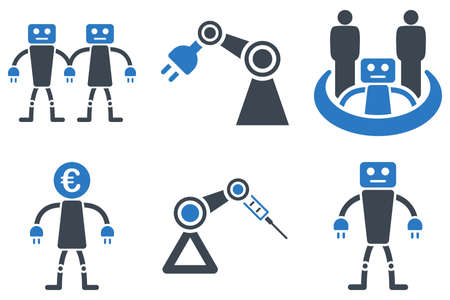 Robotics glyph icons. Icon style is bicolor smooth blue flat symbols with rounded angles on a white background.