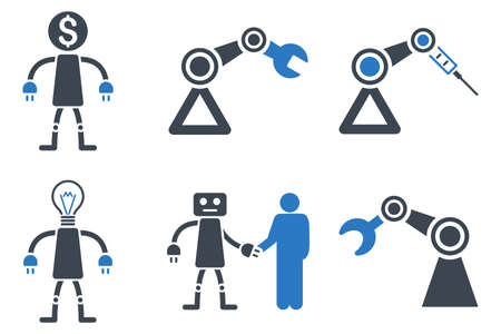 Robot glyph icons. Icon style is bicolor smooth blue flat symbols with rounded angles on a white background.