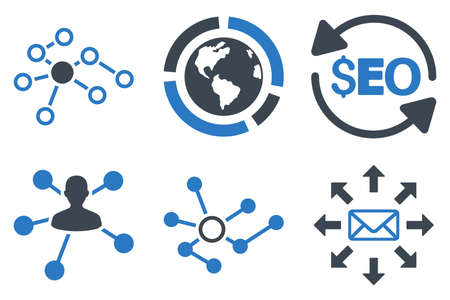 link building: Seo Link Building glyph icons. Icon style is bicolor smooth blue flat symbols with rounded angles on a white background. Stock Photo