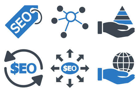 media distribution: Seo Marketing glyph icons. Icon style is bicolor smooth blue flat symbols with rounded angles on a white background.