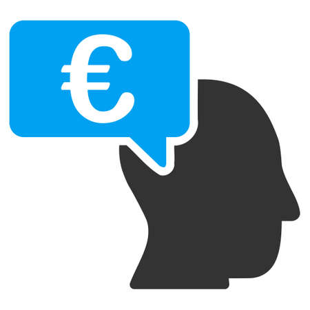economist: Euro Businessman Idea icon. Vector style is bicolor flat iconic symbol with rounded angles, blue and gray colors, white background.