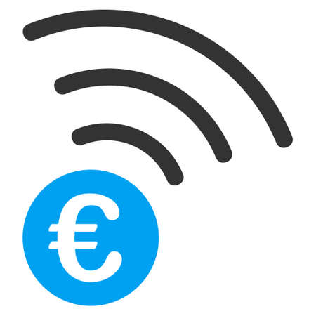 Euro Announce icon. Vector style is bicolor flat iconic symbol with rounded angles, blue and gray colors, white background.