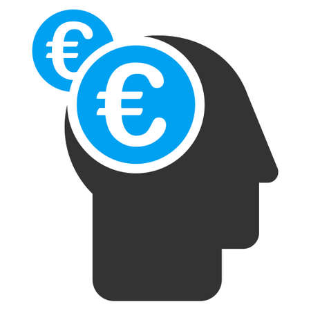 intellect: Euro Businessman Intellect icon. Vector style is bicolor flat iconic symbol with rounded angles, blue and gray colors, white background. Illustration