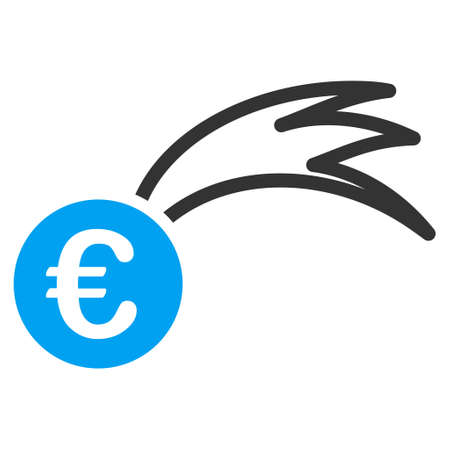 Euro Falling Meteor icon. Vector style is bicolor flat iconic symbol with rounded angles, blue and gray colors, white background.