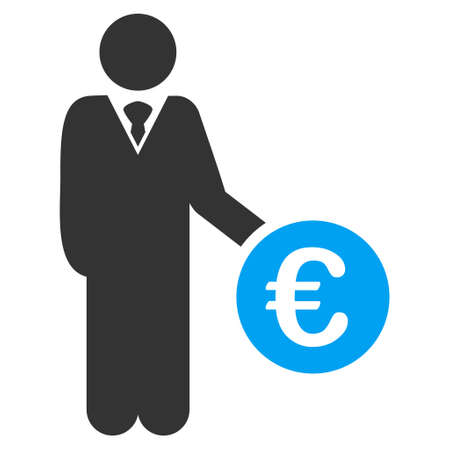 investor: Euro Investor icon. Vector style is bicolor flat iconic symbol with rounded angles, blue and gray colors, white background.
