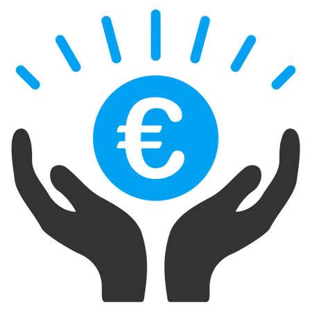 prosperidad: Euro icono de la prosperidad. estilo vector es bicolor símbolo icónico plana con ángulos redondeados, colores azul y gris, fondo blanco. Vectores