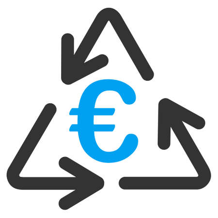 Euro Recycling icon. Vector style is bicolor flat iconic symbol with rounded angles, blue and gray colors, white background.