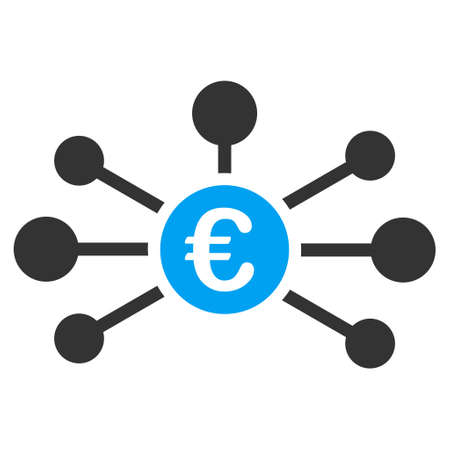 Euro Relations icon. Vector style is bicolor flat iconic symbol with rounded angles, blue and gray colors, white background.