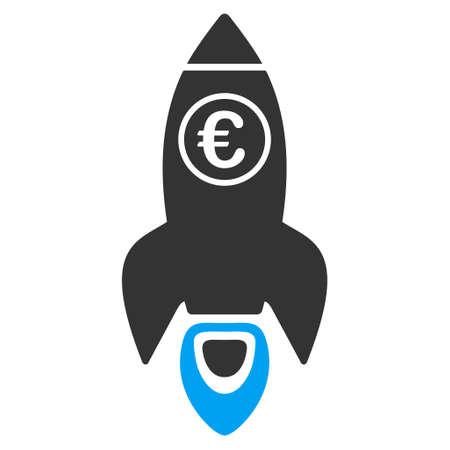 satellite launch: Euro Rocket Launch icon. Vector style is bicolor flat iconic symbol with rounded angles, blue and gray colors, white background. Illustration