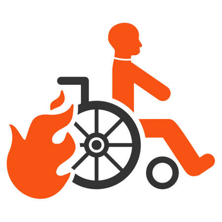 evacuate: Burn Patient icon. Vector style is bicolor flat iconic symbol with rounded angles, orange and gray colors, white background.