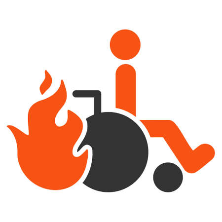 going away: Burn Patient icon. Vector style is bicolor flat iconic symbol with rounded angles, orange and gray colors, white background.