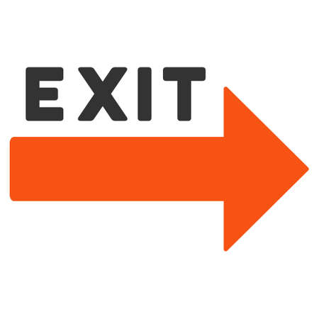 going away: Exit Arrow icon. Vector style is bicolor flat iconic symbol with rounded angles, orange and gray colors, white background.