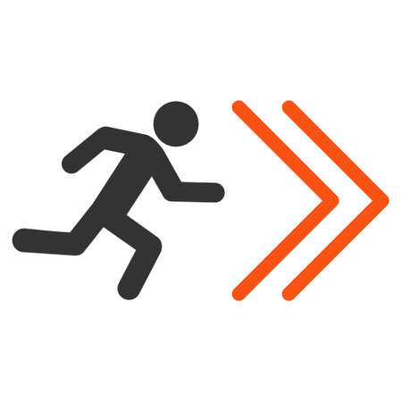 escape route: Exit Direction icon. Vector style is bicolor flat iconic symbol with rounded angles, orange and gray colors, white background.