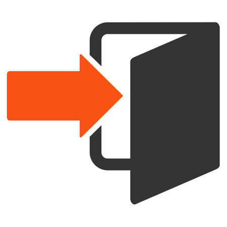 going away: Exit Door icon. Vector style is bicolor flat iconic symbol with rounded angles, orange and gray colors, white background.