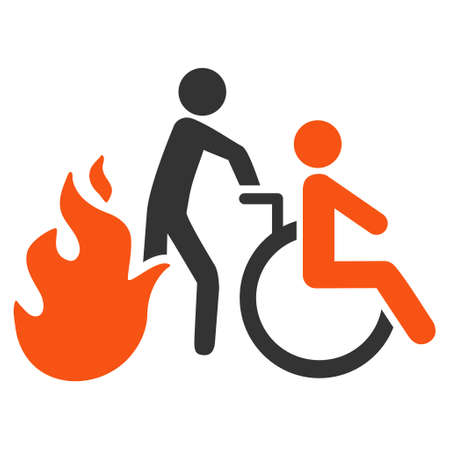 evacuation: Fire Patient Evacuation icon. Vector style is bicolor flat iconic symbol with rounded angles, orange and gray colors, white background. Illustration