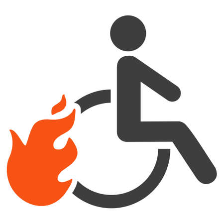 going away: Fired Disabled Person icon. Vector style is bicolor flat iconic symbol with rounded angles, orange and gray colors, white background. Illustration