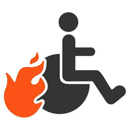 fired: Fired Patient icon. Vector style is bicolor flat iconic symbol with rounded angles, orange and gray colors, white background.