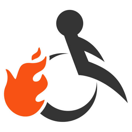 Fired Patient icon. Vector style is bicolor flat iconic symbol with rounded angles, orange and gray colors, white background.