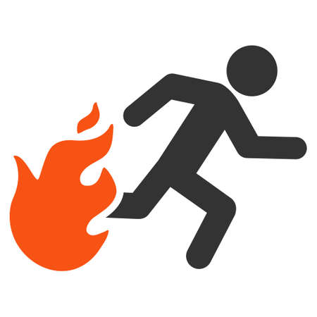Fired Running Man icon. Vector style is bicolor flat iconic symbol with rounded angles, orange and gray colors, white background.