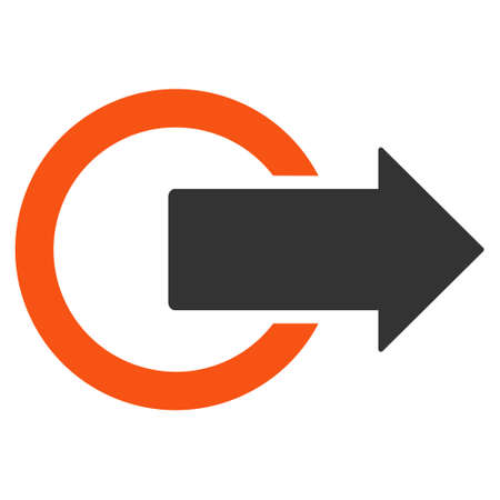 turn away: Logout icon. Vector style is bicolor flat iconic symbol with rounded angles, orange and gray colors, white background.