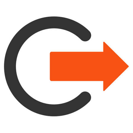 Logout icon. Vector style is bicolor flat iconic symbol with rounded angles, orange and gray colors, white background.