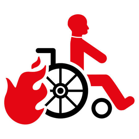 Burn Patient icon. Glyph style is bicolor flat iconic symbol with rounded angles, intensive red and black colors, white background.